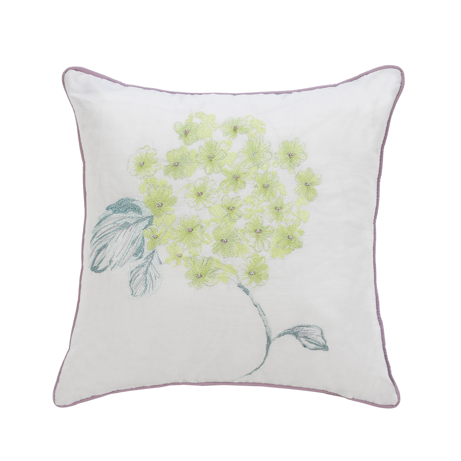Abigail Duck Egg Embroidered Filled Square Cushion