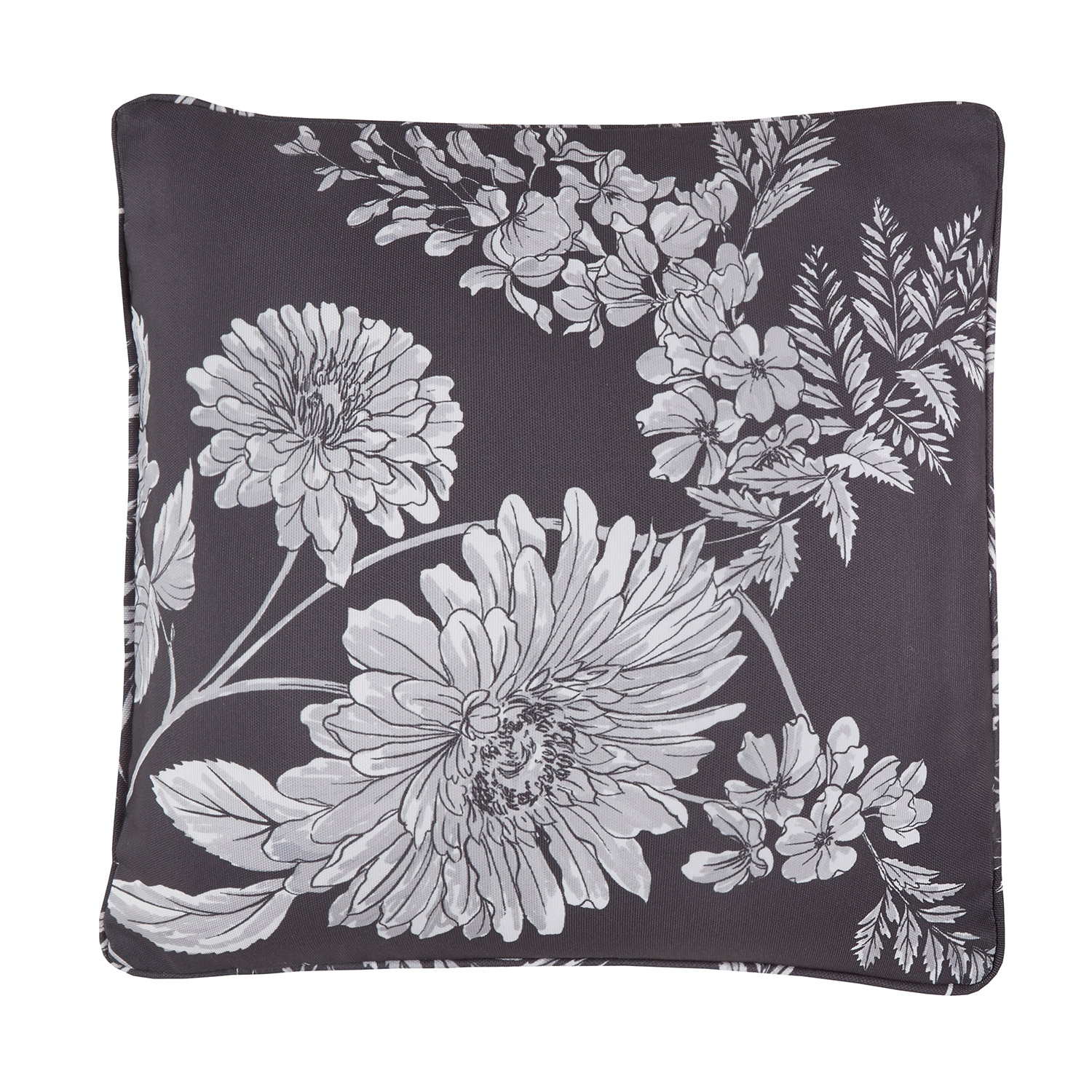 Adele White Floral Reversible Filled Square Cushion