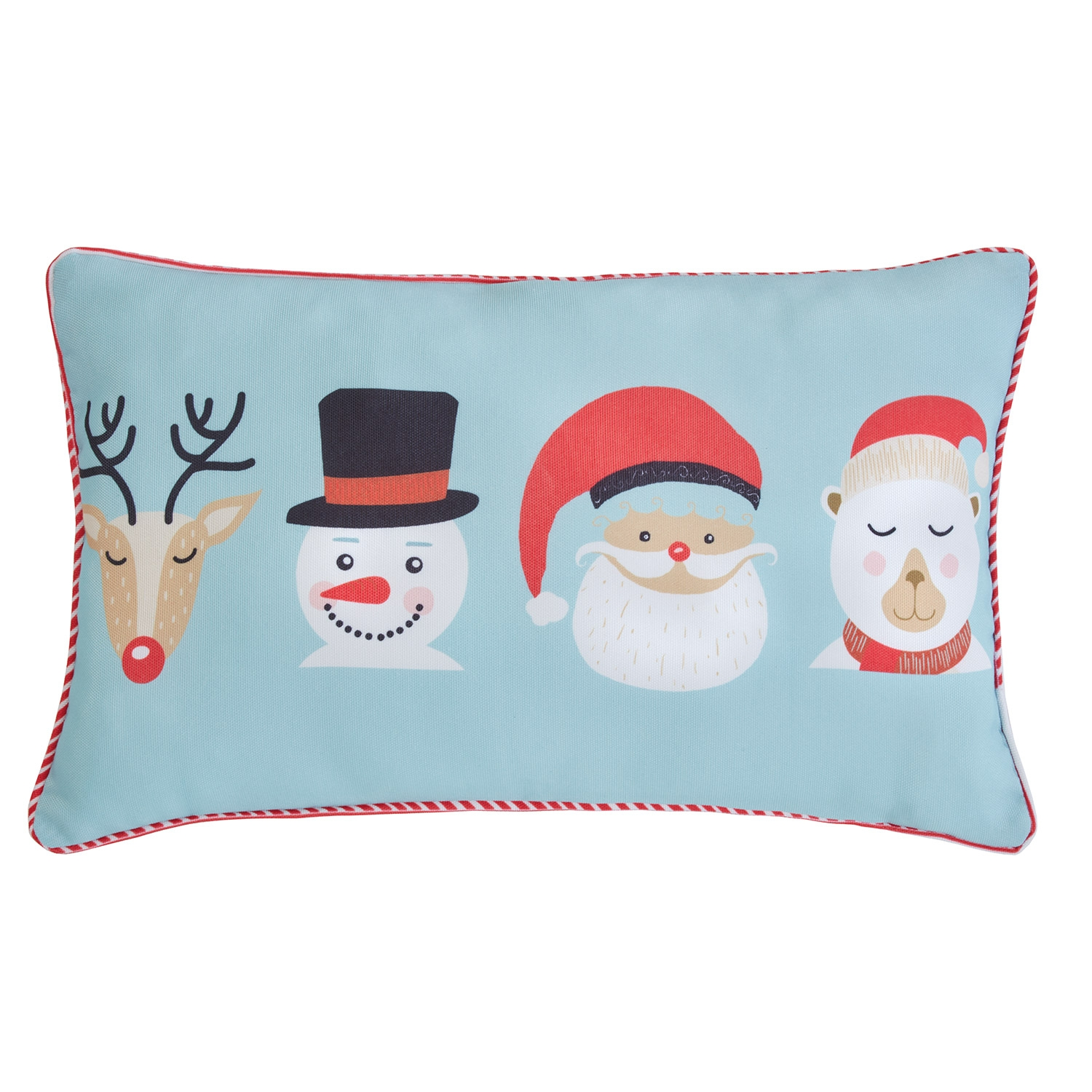 Advent Santa Red Printed Hollowfibre Filled Boudoir Cushion