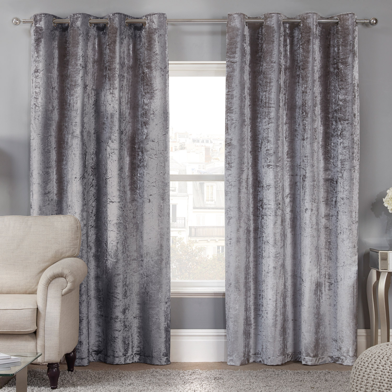 Silver curtains l grommet window curtain panel in silver for Living room curtains 90x90