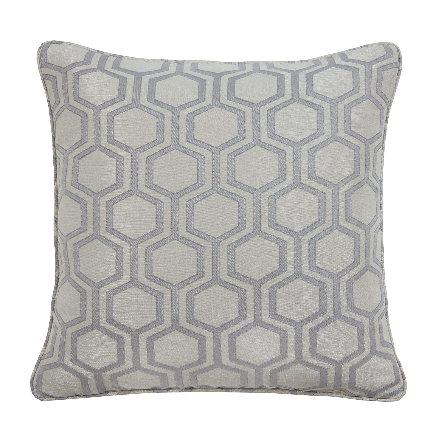 Aurora Silver Geometric Luxury Filled Square Cushion