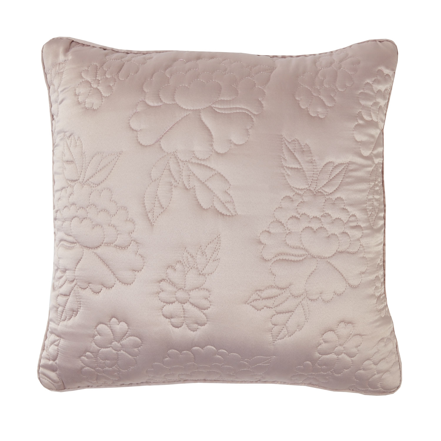 Ava Bird Mauve Embroidered Filled Square Cushion