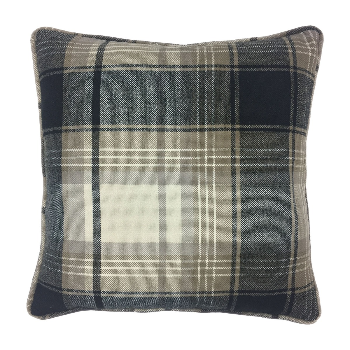 Balmoral Charcoal Check Filled Square Cushion