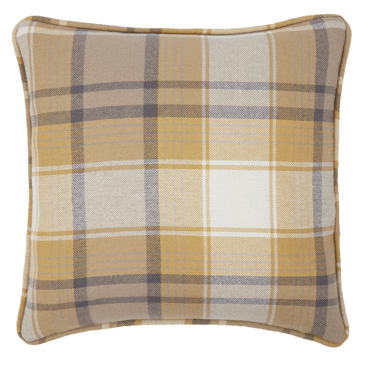 Balmoral Gold Check Filled Square Cushion