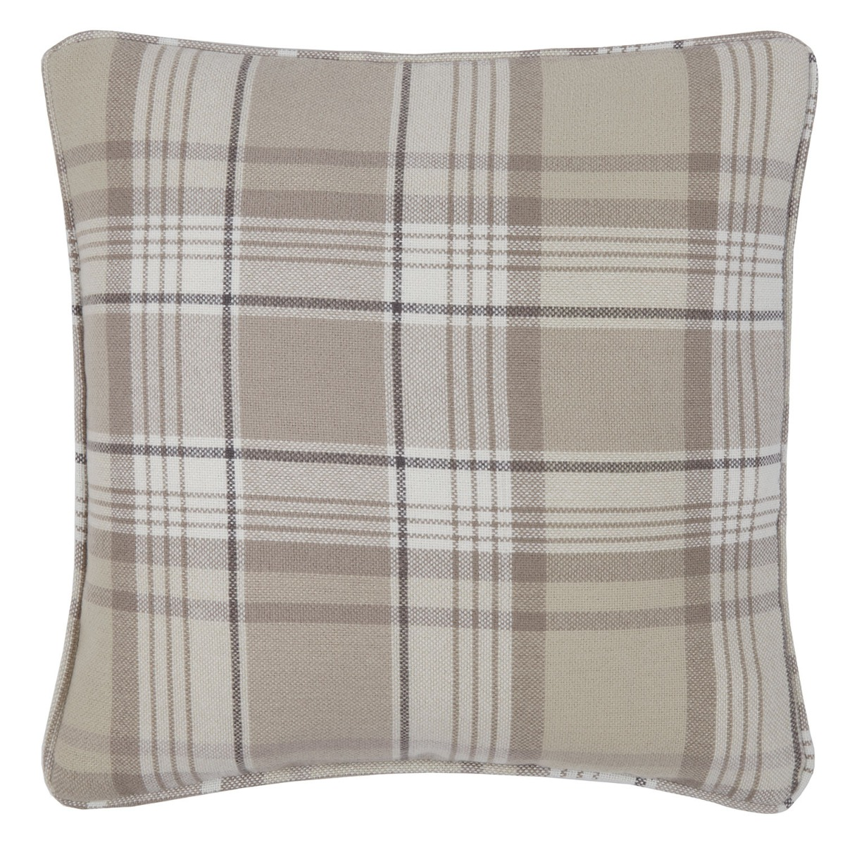 Balmoral Natural Check Filled Square Cushion