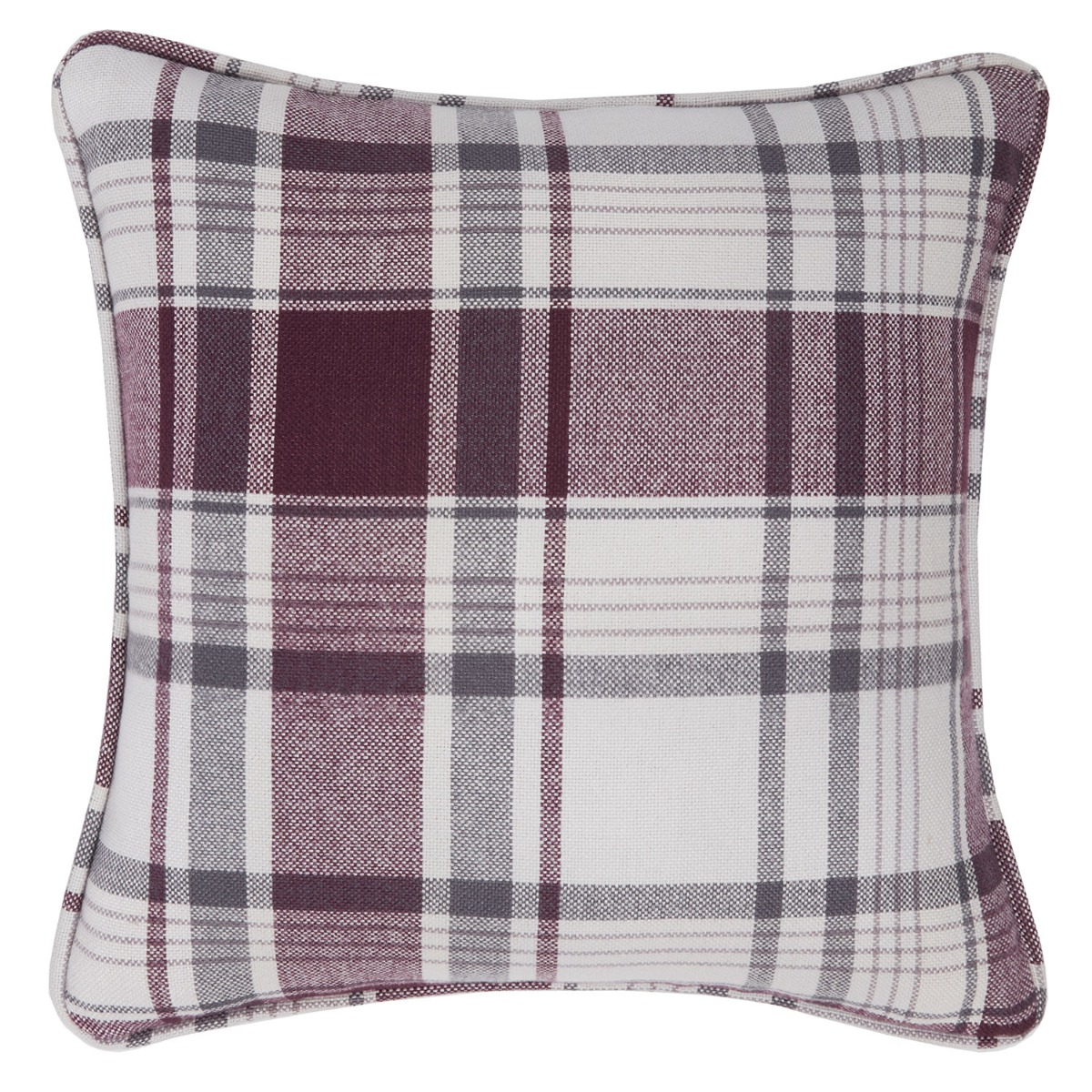 Balmoral Plum Check Filled Square Cushion