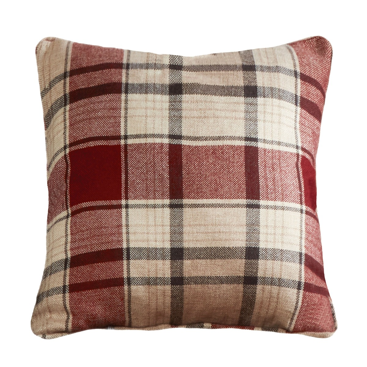 Balmoral Red Check Filled Square Cushion
