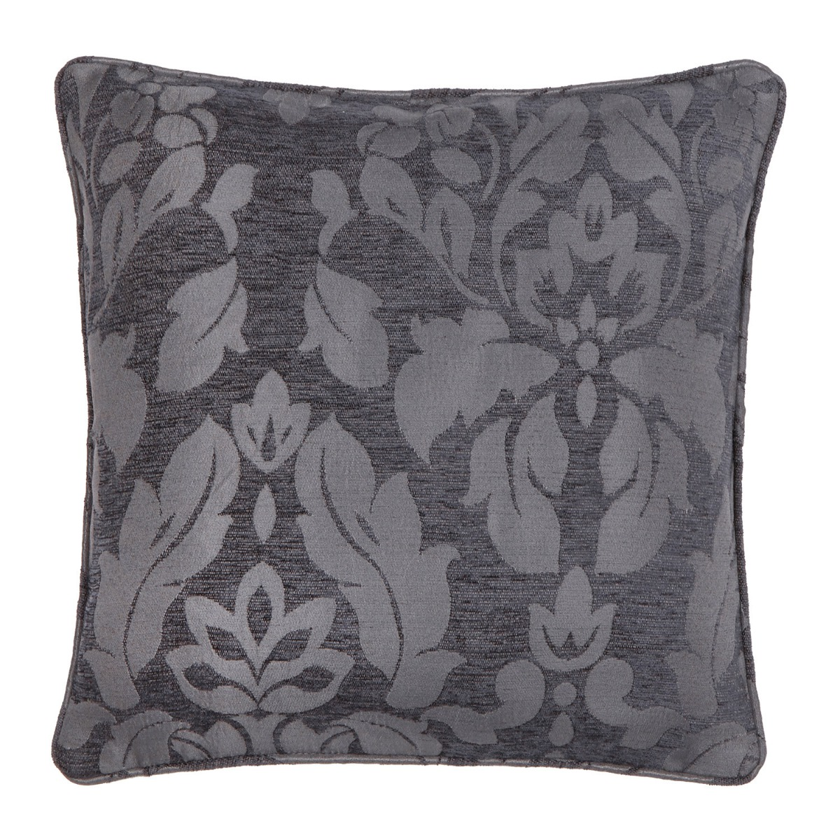 Baroque Charcoal Damask Filled Square Cushion