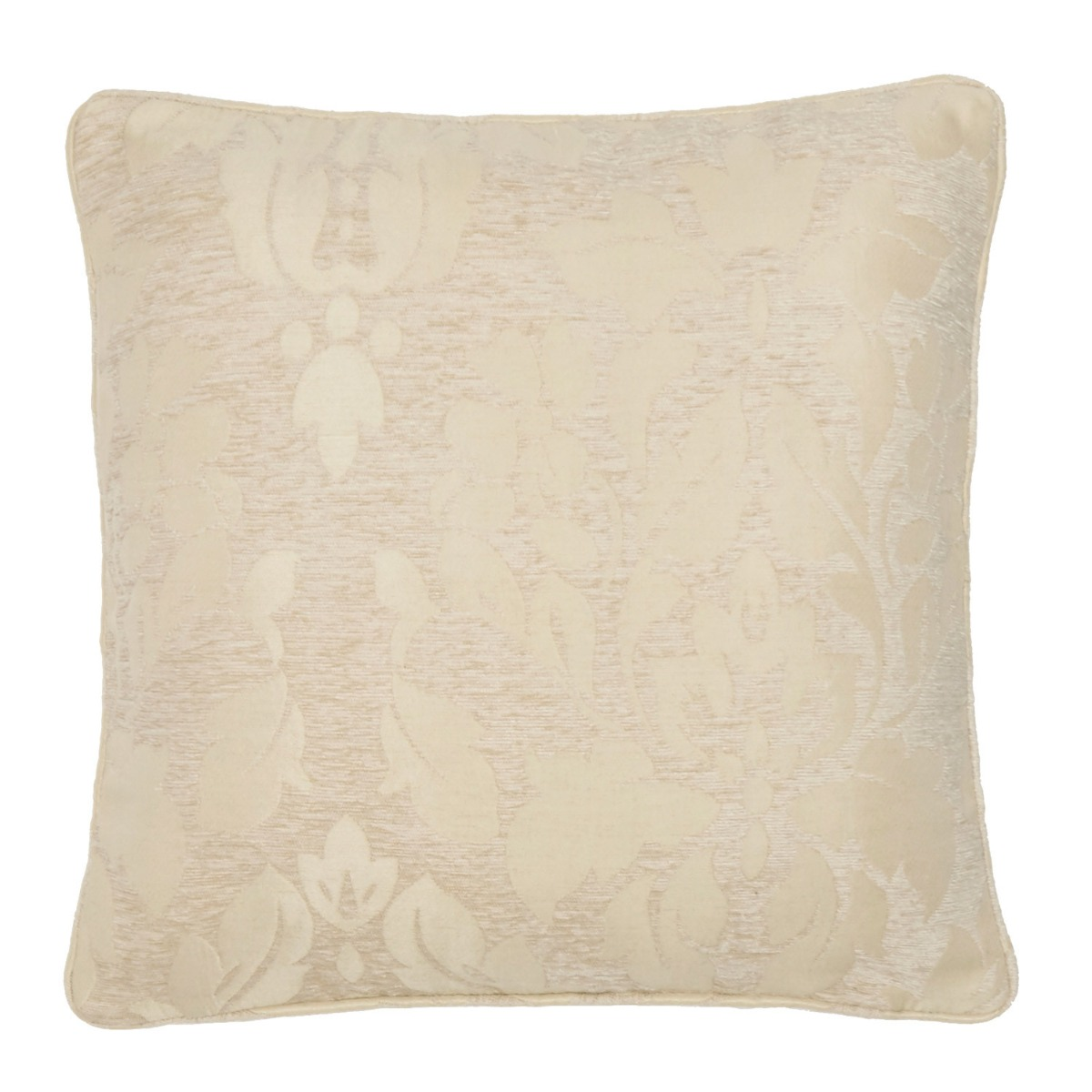 Baroque Natural Damask Filled Square Cushion