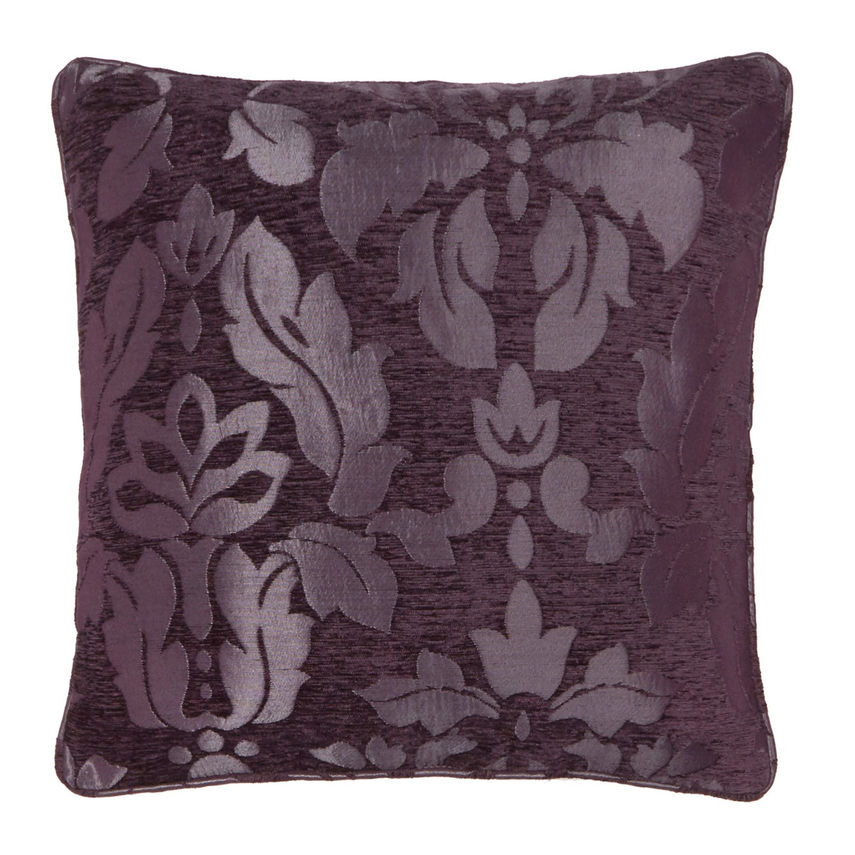 Baroque Plum Damask Filled Square Cushion