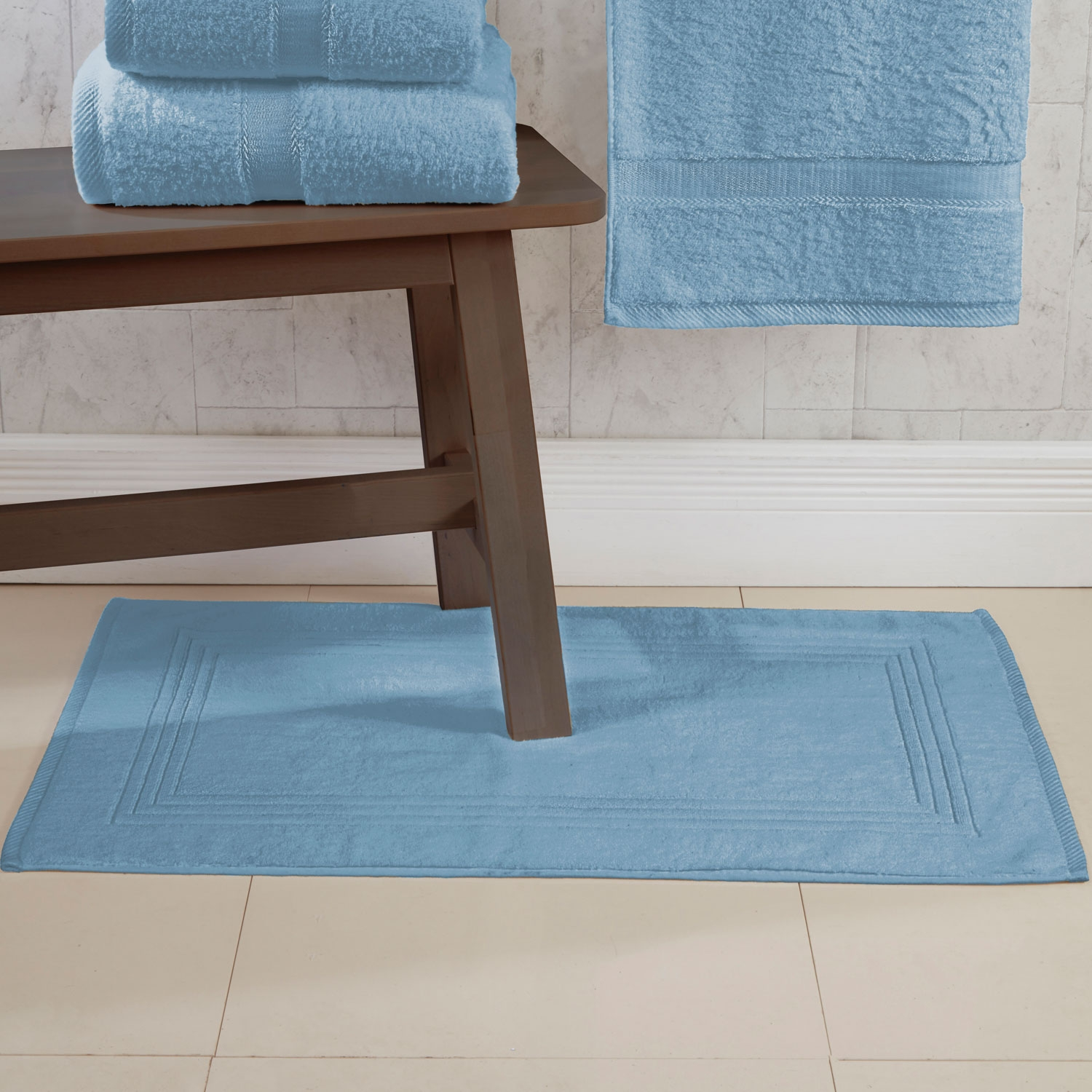 Blue 600gsm Egyptian Cotton Luxurious Bath Mat