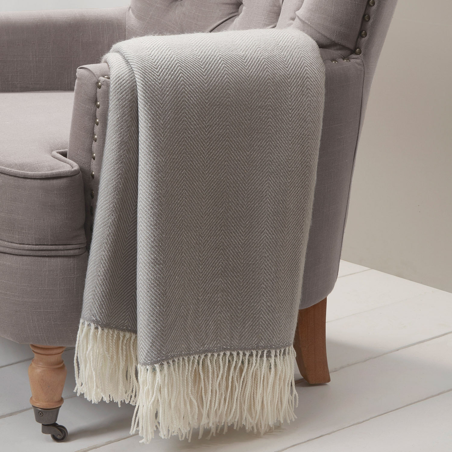 Blair Silver Herringbone Throw