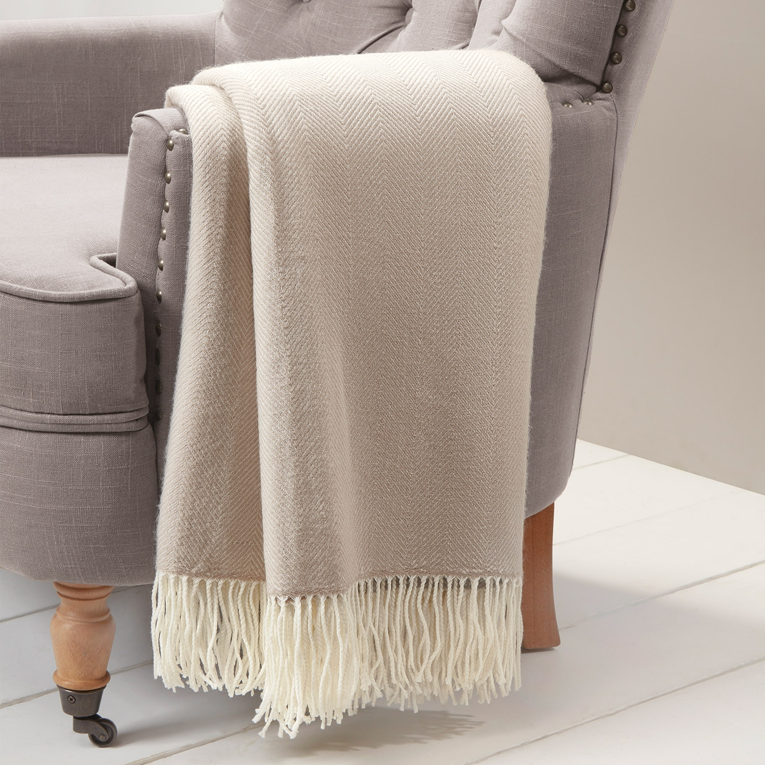 Blair Natural Herringbone Throw