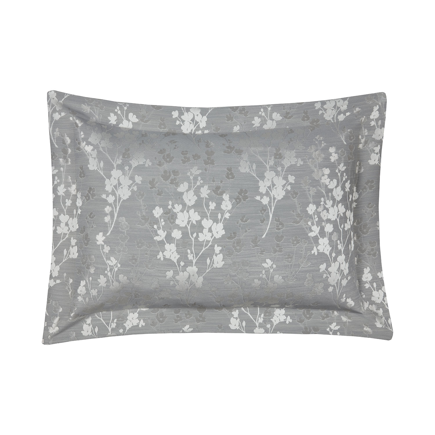 Blossom Silver Grey Floral Jacquard Oxford Pillowcases (Pair)