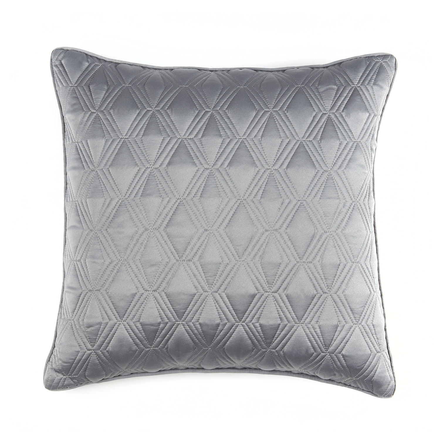 Blossom Silver Grey Luxury Quilted Square Cushion Cover