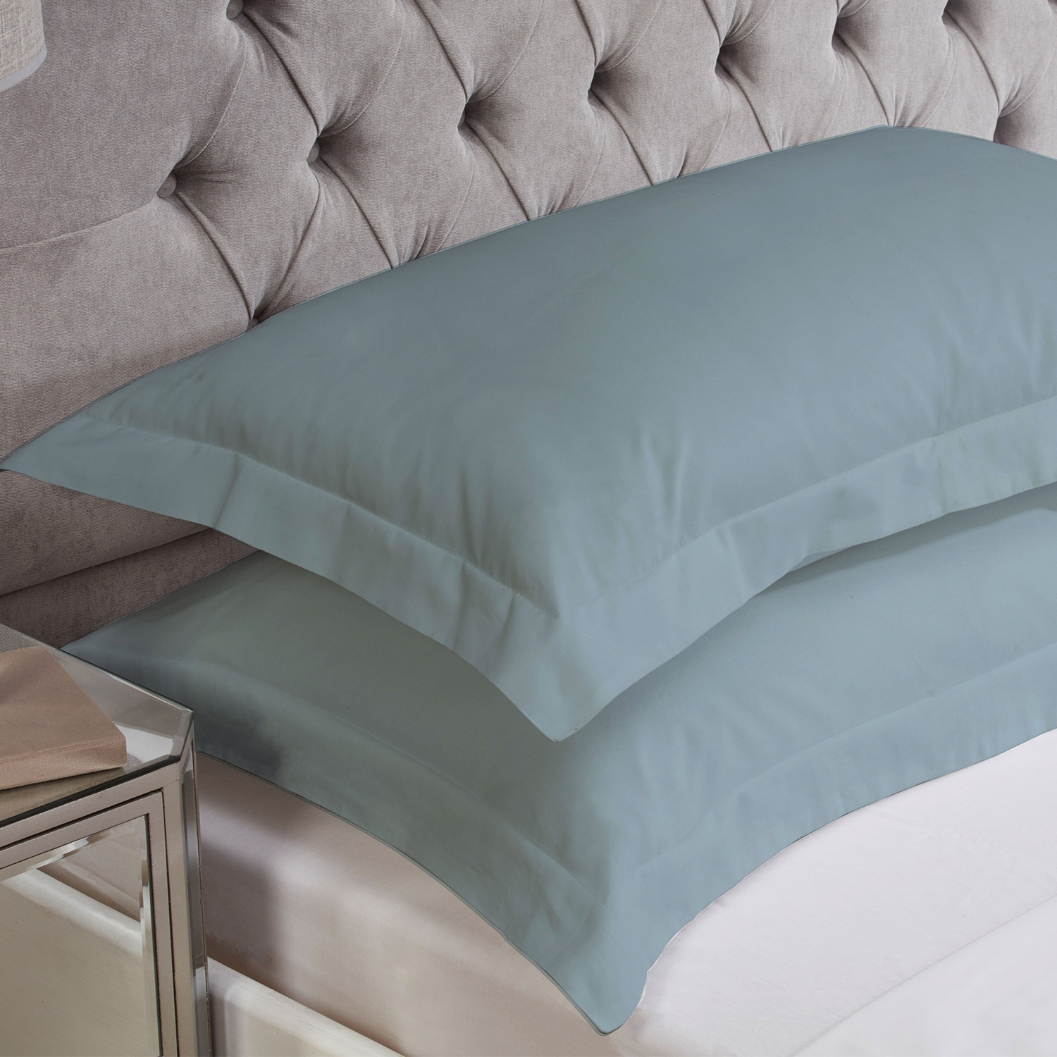 Blue Cotton Rich Percale Easy Care Oxford Pillowcases (Pair)