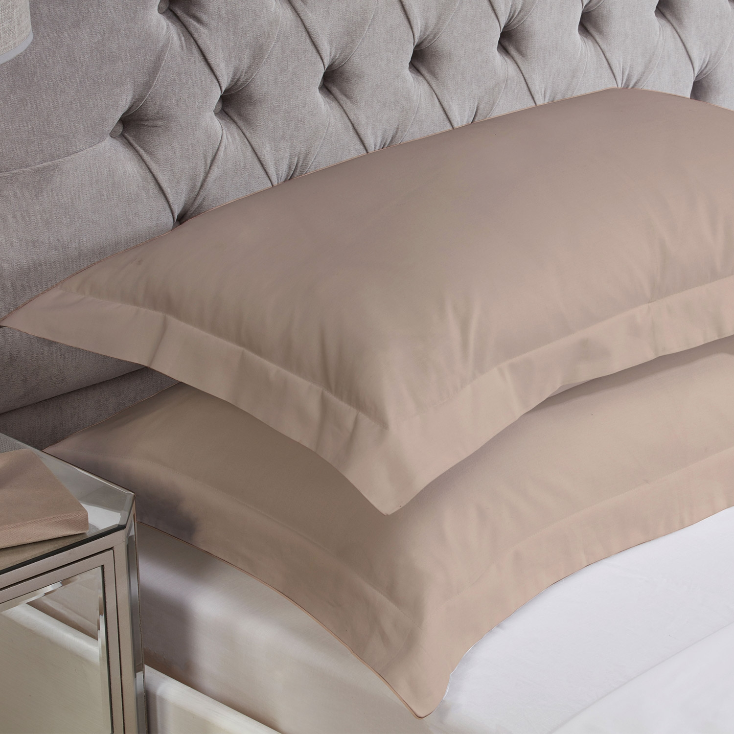 Blush Cotton Rich Percale Easy Care Oxford Pillowcases (Pair)