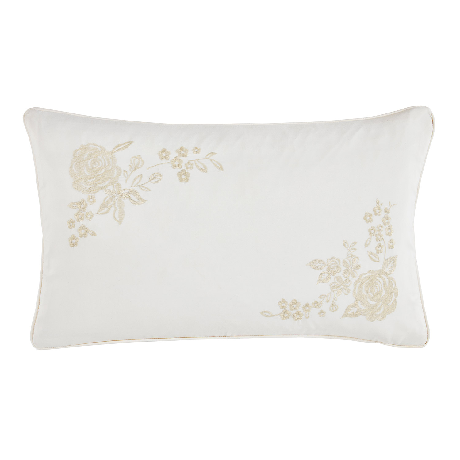 Bronte Natural Embroidered Filled Boudoir Cushion