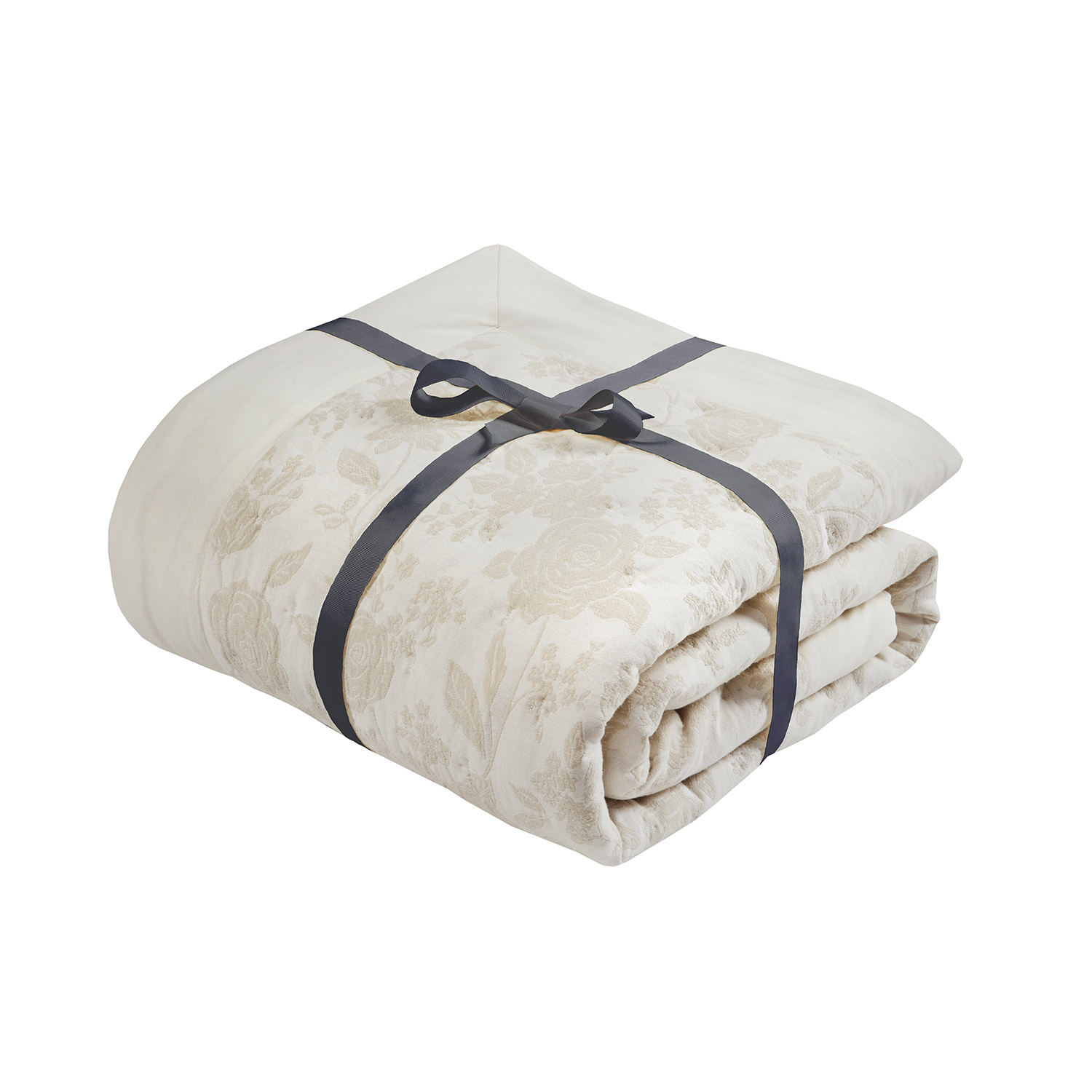 Bronte Natural Embroidered Filled Quilted Throw