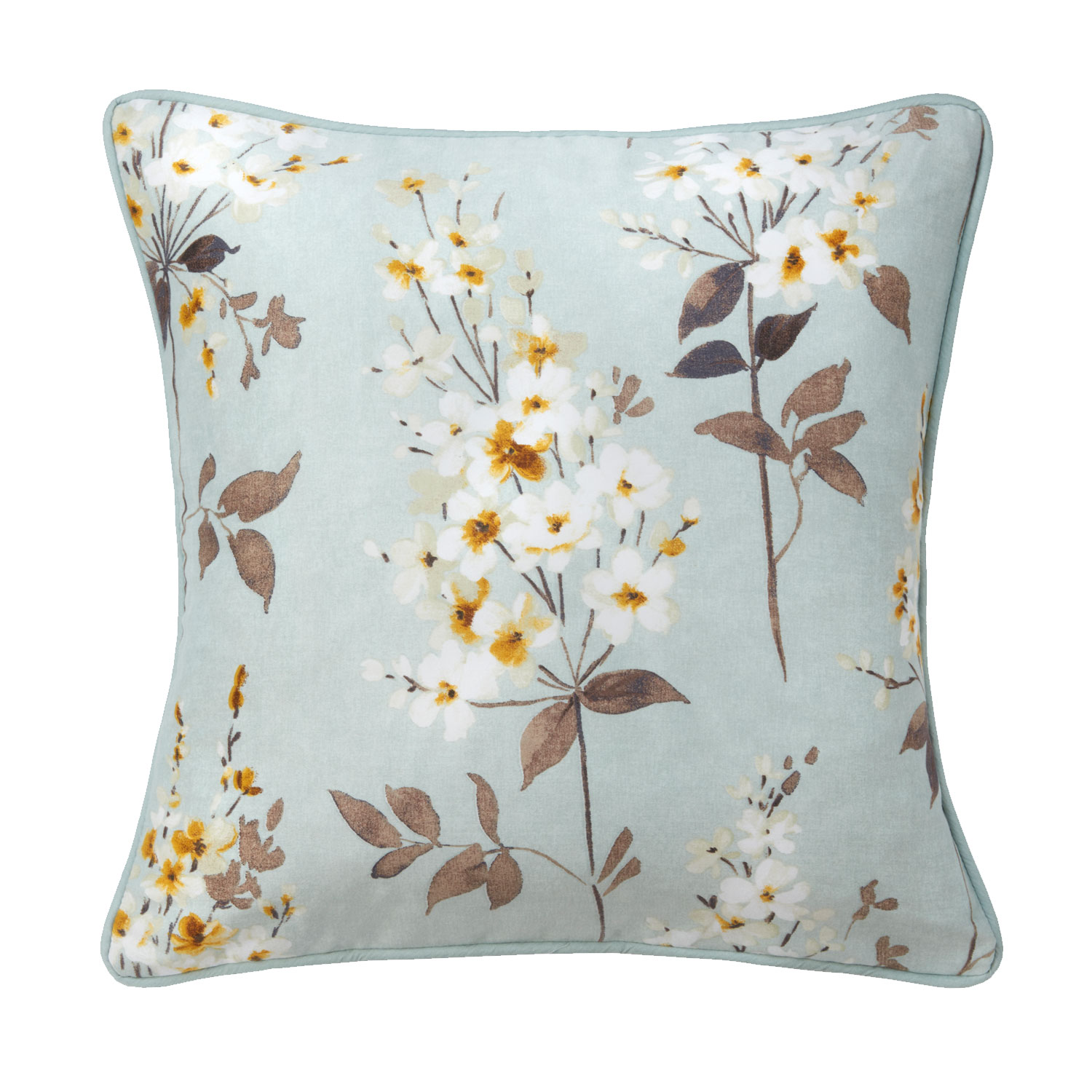 Camille Floral Duck Egg Luxury Filled Square Cushion