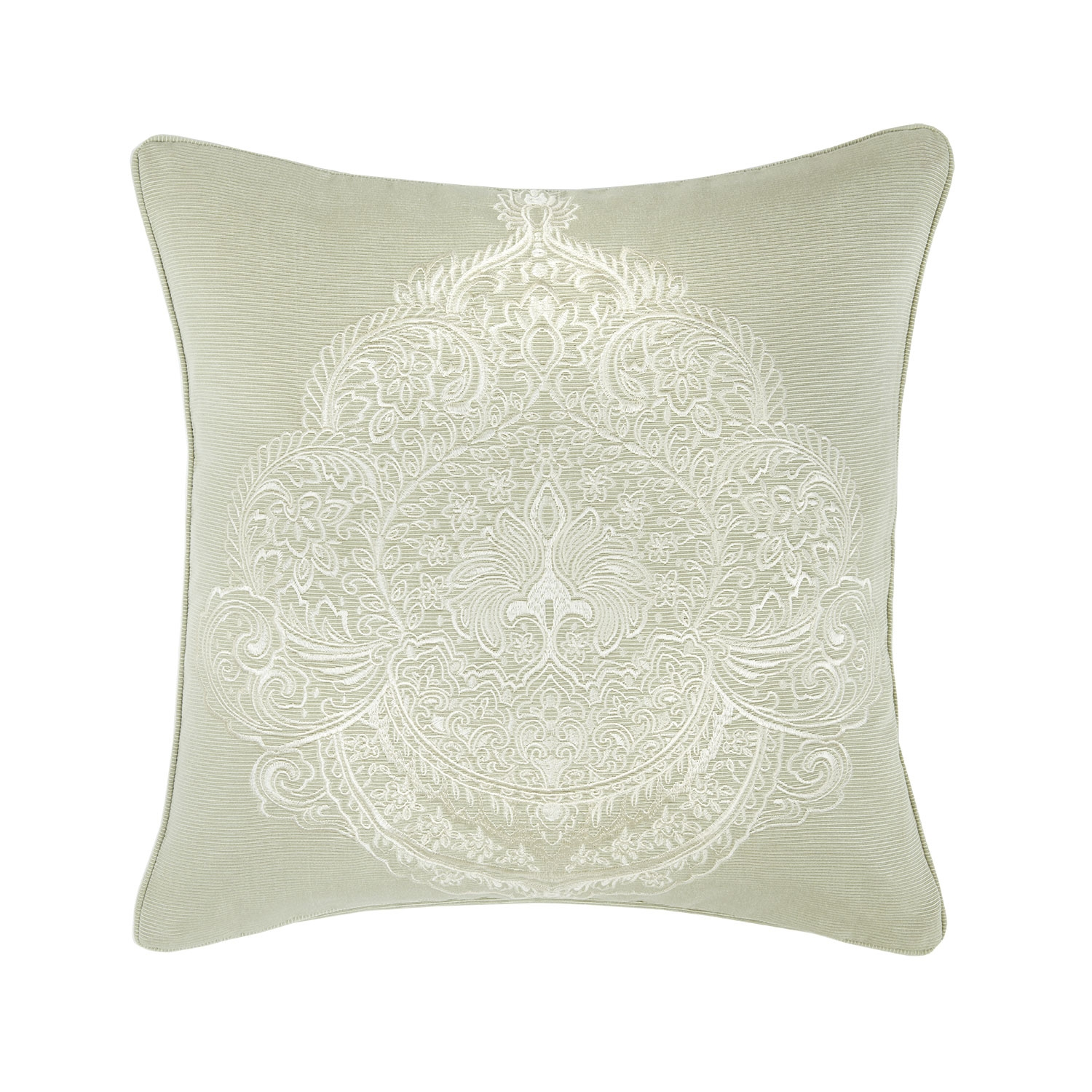 Capri Soft Green Luxury Jacquard Embroidered Filled Square Cushion