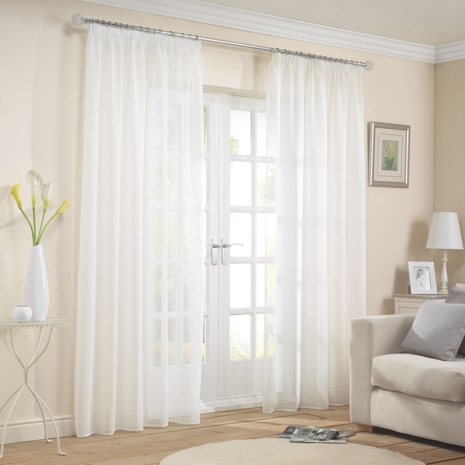 "Capri White 2"" Pencil Pleat Voile Curtains (Single)"