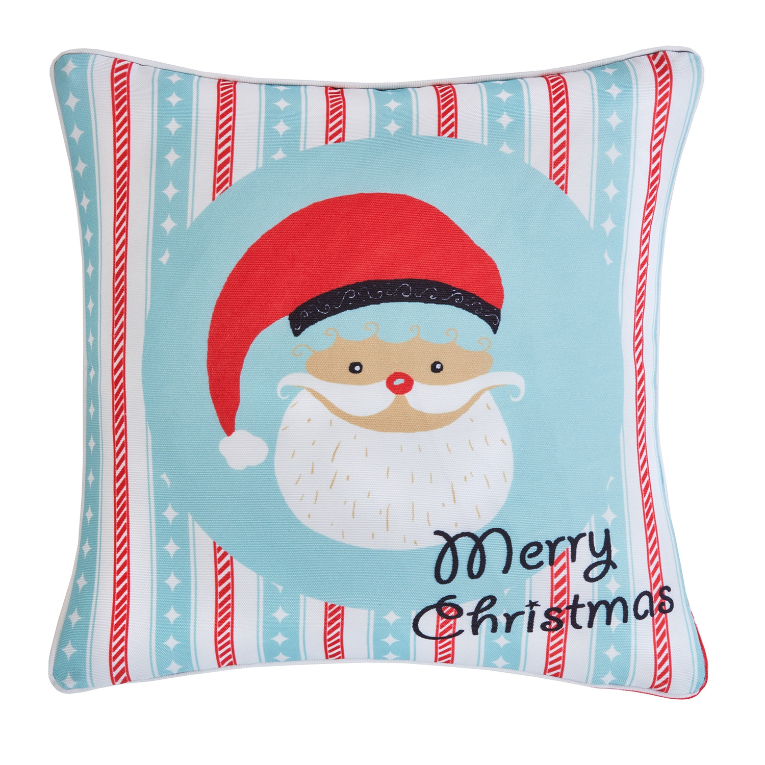 Advent Santa Red Printed Hollowfibre Filled Square Cushion