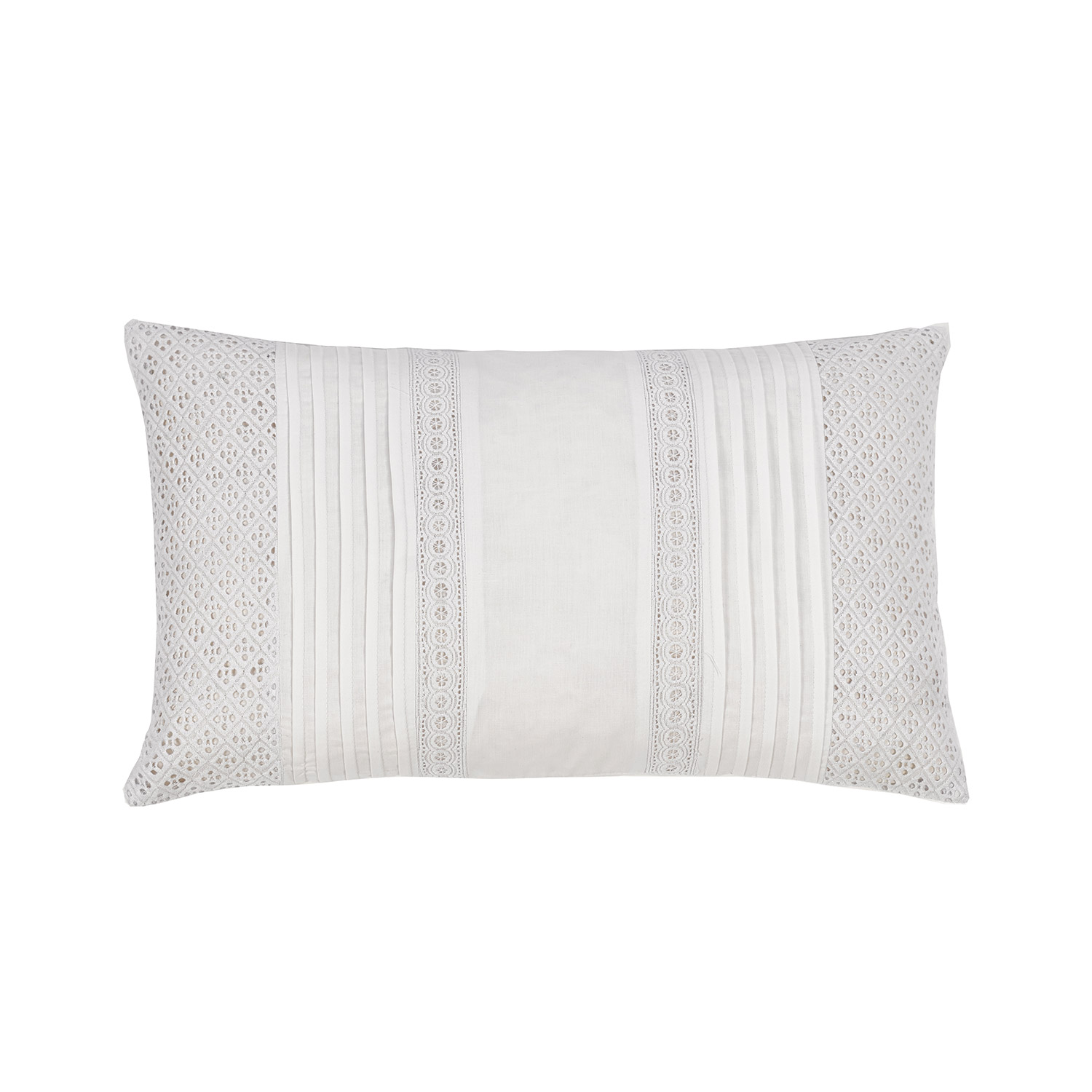 Cleo White Embroidered Luxury Filled Boudoir Cushion
