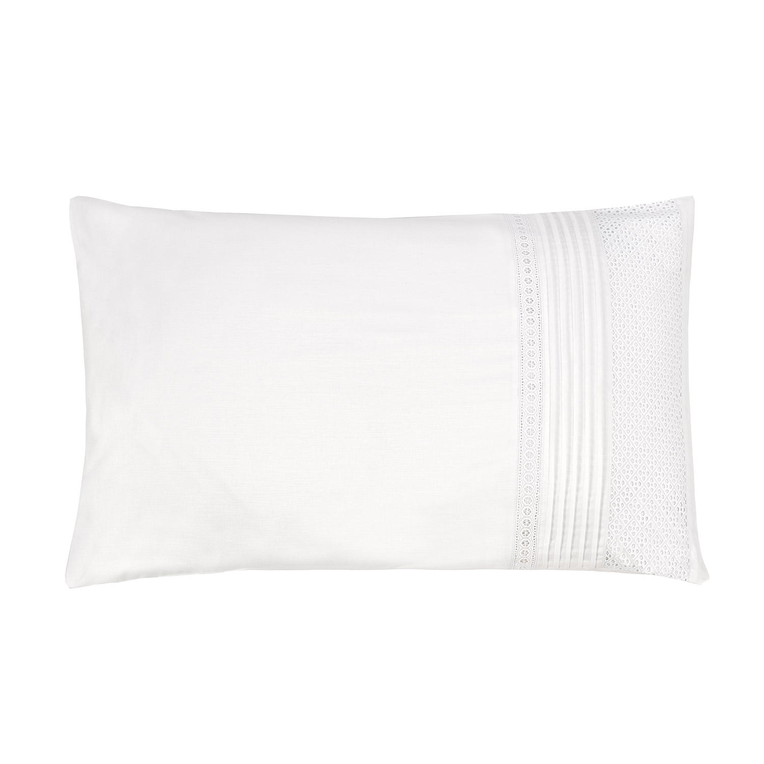 Cleo White Embroidered Luxury Housewife Pillow Cases (Pair)