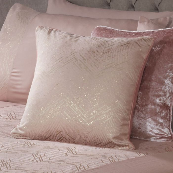 Rialto Rose Gold Metallic Bed Cushion, Pink And Rose Gold Bed Sheets