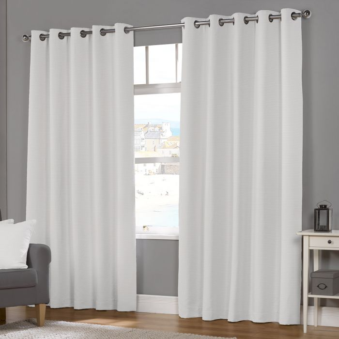 Naples White Luxury Lined Eyelet, Lined White Curtains
