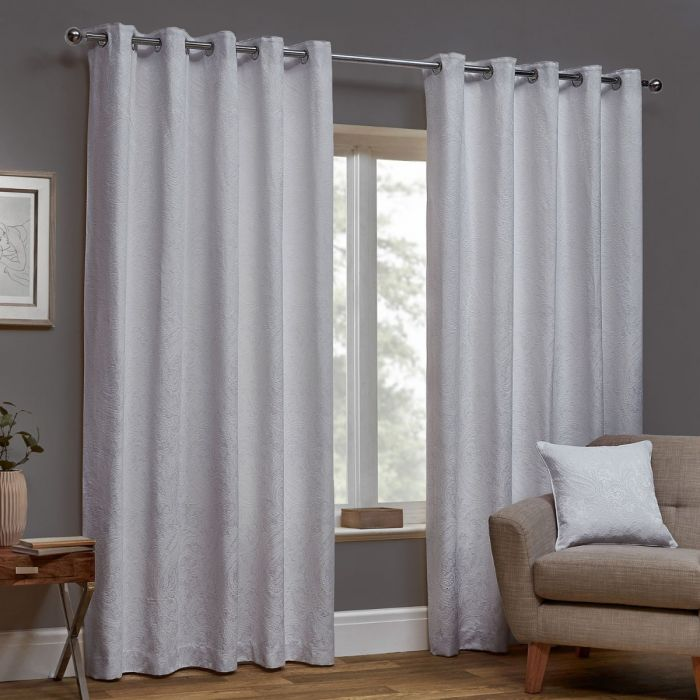 Paisley White Luxury Jacquard Lined, Lined White Curtains