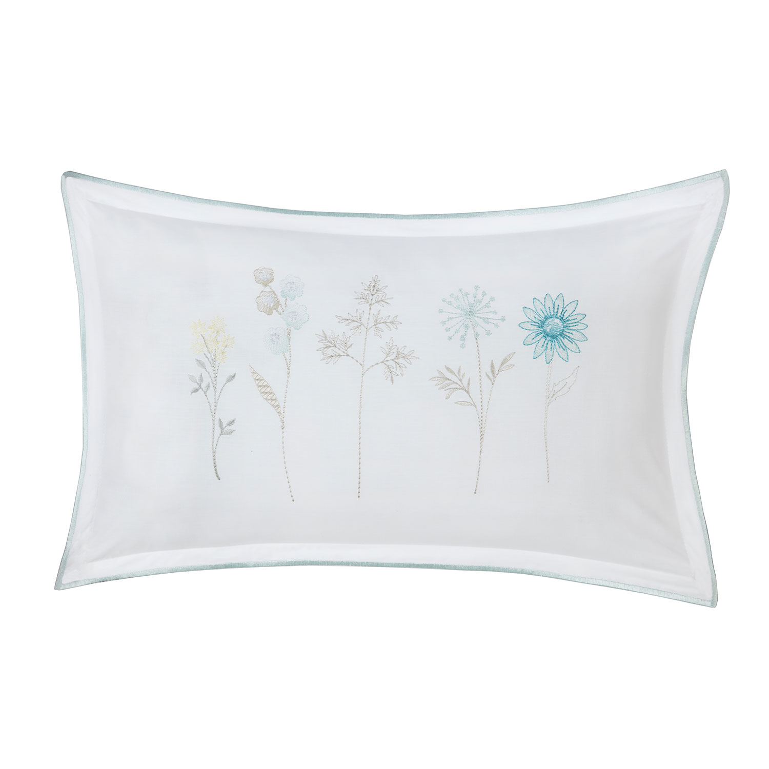 Imogen Duck Egg Luxury Embroidered Filled Boudoir Cushion