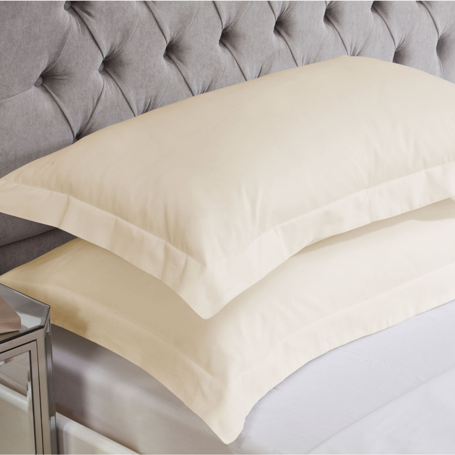 Champagne Cotton Rich Percale Easy Care Oxford Pillowcases (Pair)