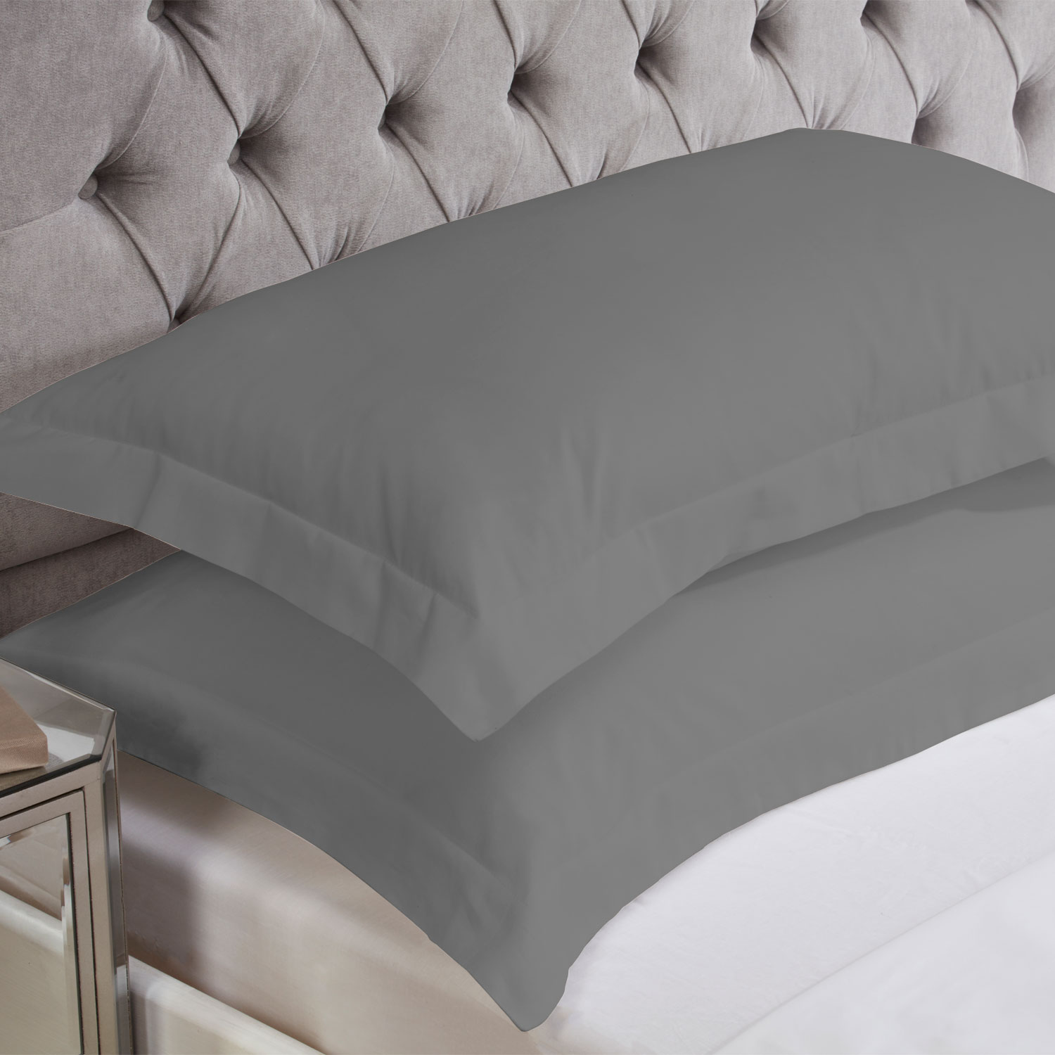 Charcoal Grey Cotton Rich Percale Easy Care Oxford Pillowcases (Pair)