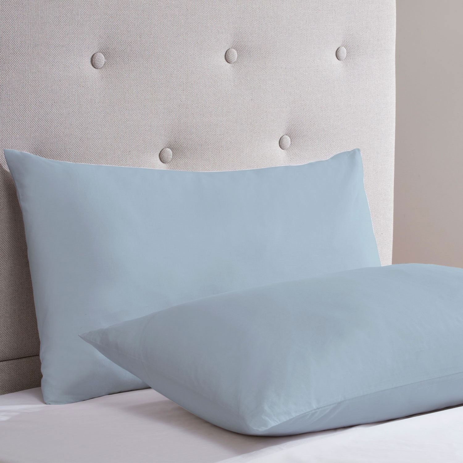 Blue Cotton Rich Percale Easy Care Housewife Pillowcases (Pair)