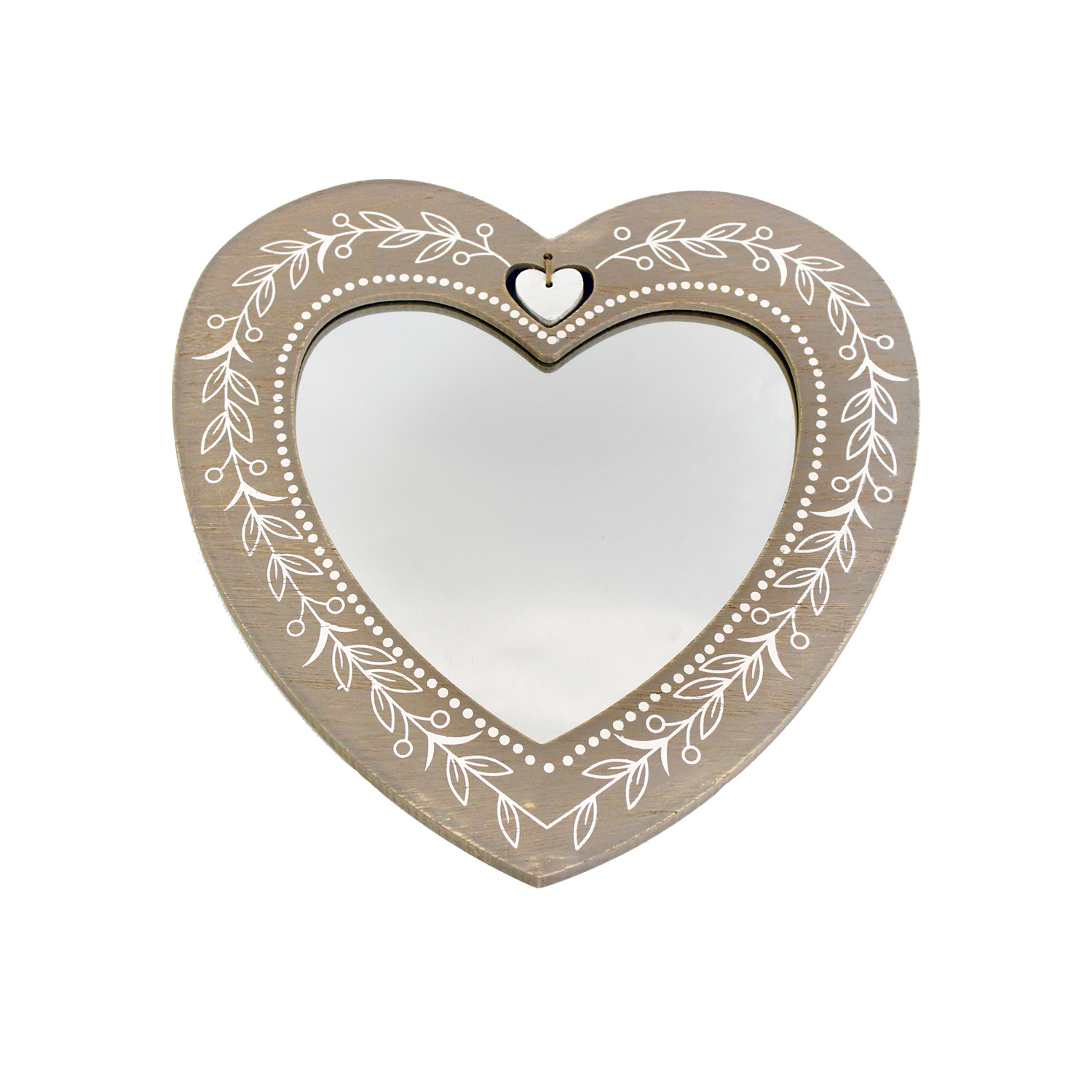 Wooden Heart Shaped Mirror With Hand Painted White Leaves
