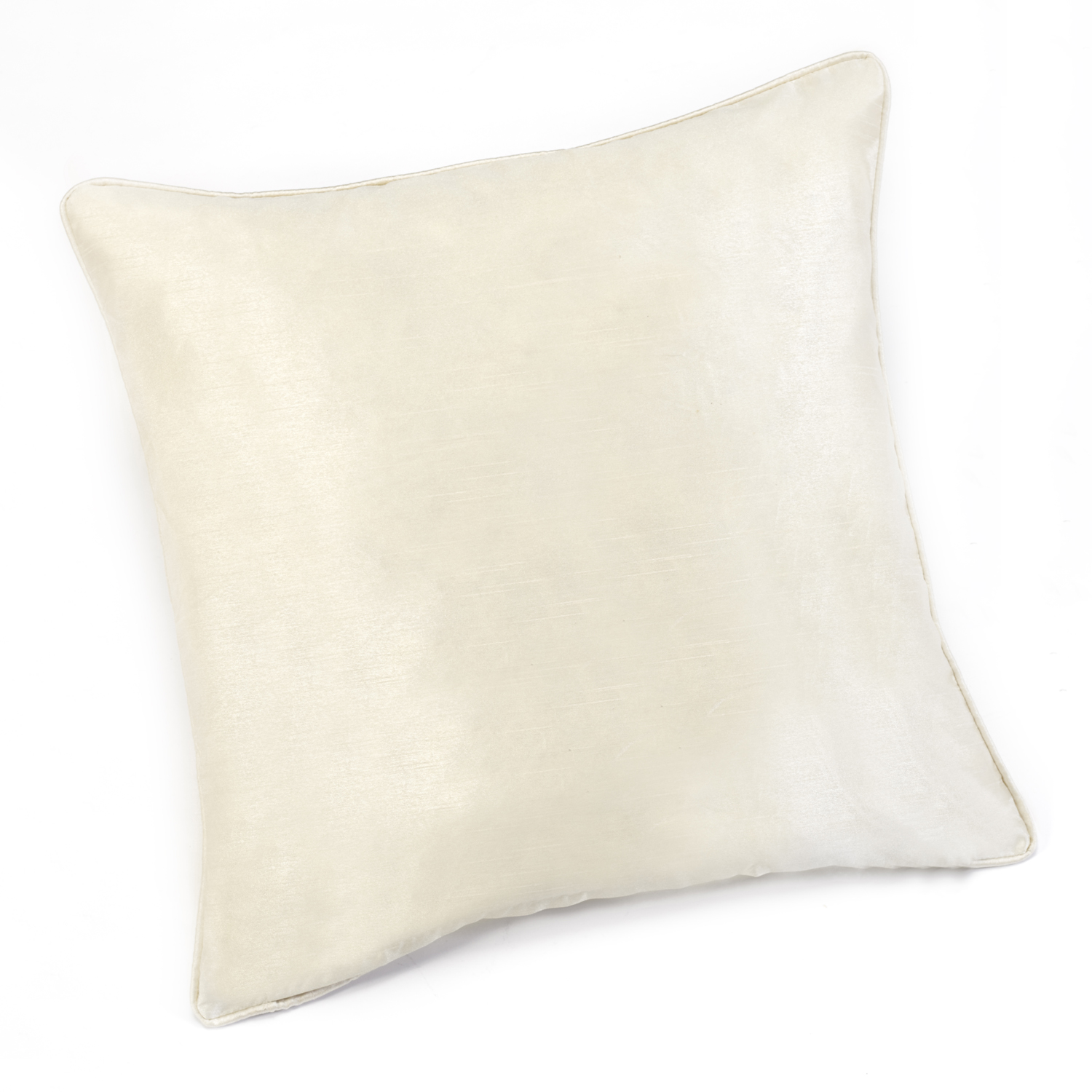 Sunset Cream Faux Silk Self Piped Cushion Cover