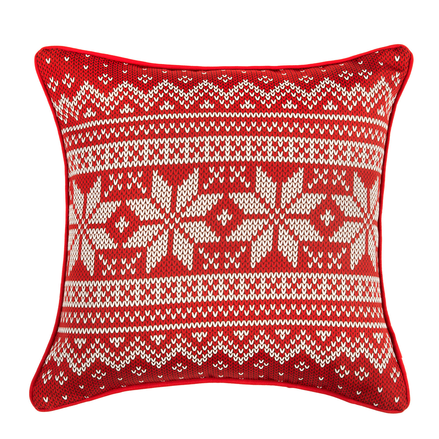 Christmas Weave Printed Hollowfibre Filled Square Cushion