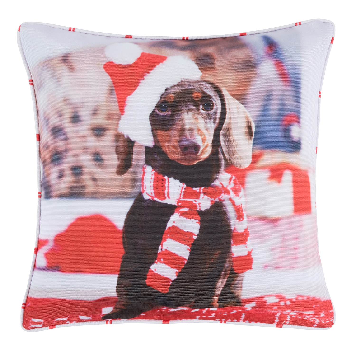 Noel Dog Red Printed Hollowfibre Filled Square Cushion