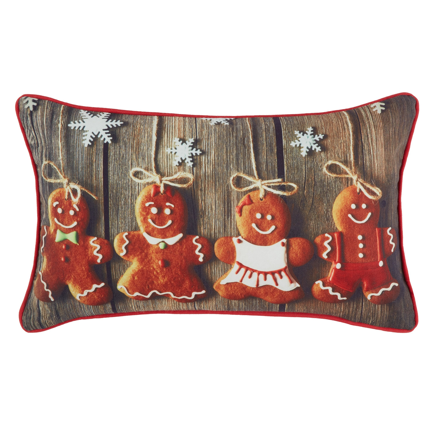 Gingerbread Red Printed Hollowfibre Filled Boudoir Cushion